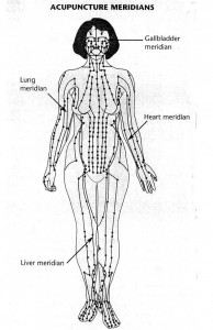Acupuncture Meridian chart on drawn human body