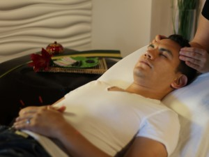 Scalp Massage combined with acupuncture treatment