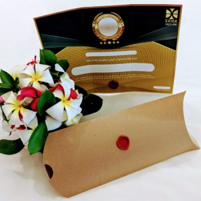 Physical Massage Gift Certificate with pillow box and flowers